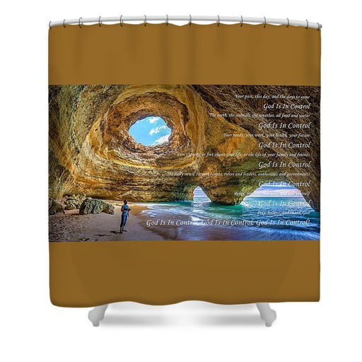 God Is In Control - Shower Curtain - Love the Lord Inc