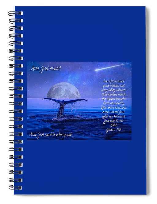 God Made Moon and Whale - Spiral Notebook - Love the Lord Inc