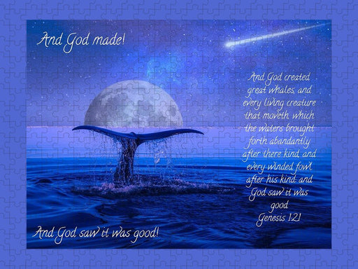 God Made Moon and Whale - Puzzle - Love the Lord Inc