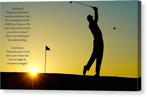 Golfer- He Gives Strength - Canvas Print - Love the Lord Inc