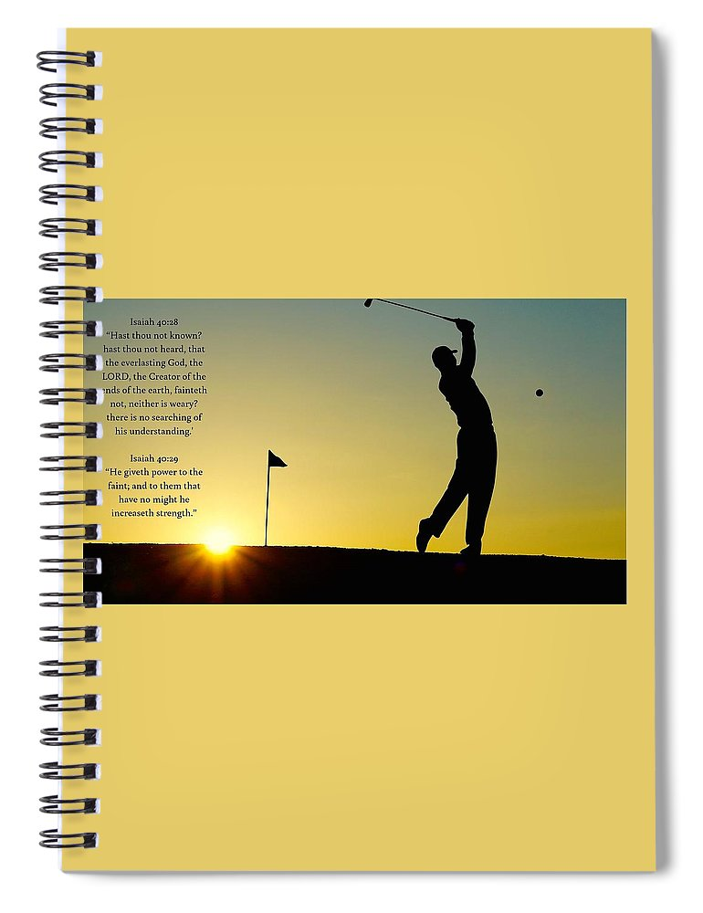 Golfer- He Gives Strength - Spiral Notebook - Love the Lord Inc