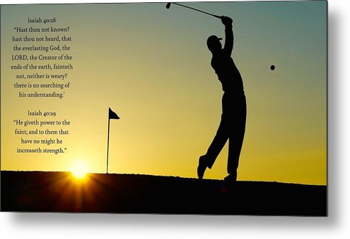 Golfer- He Gives Strength - Metal Print - Love the Lord Inc