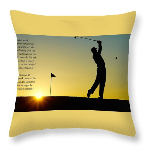 Golfer- He Gives Strength - Throw Pillow - Love the Lord Inc