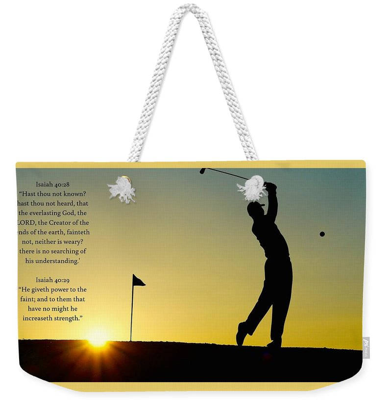 Golfer- He Gives Strength - Weekender Tote Bag - Love the Lord Inc
