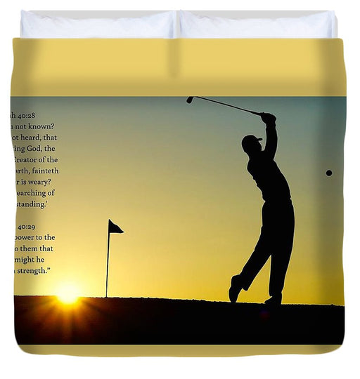 Golfer- He Gives Strength - Duvet Cover - Love the Lord Inc