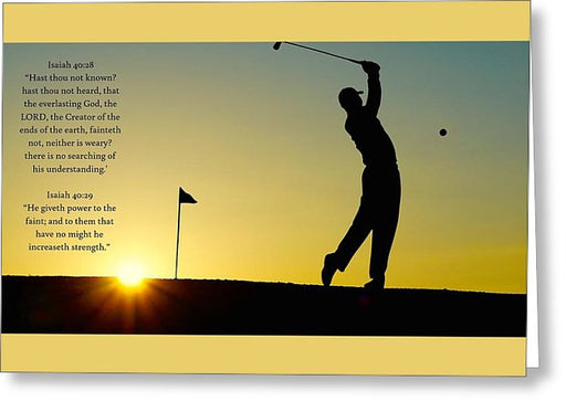 Golfer- He Gives Strength - Greeting Card - Love the Lord Inc