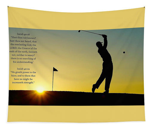 Golfer- He Gives Strength - Tapestry - Love the Lord Inc