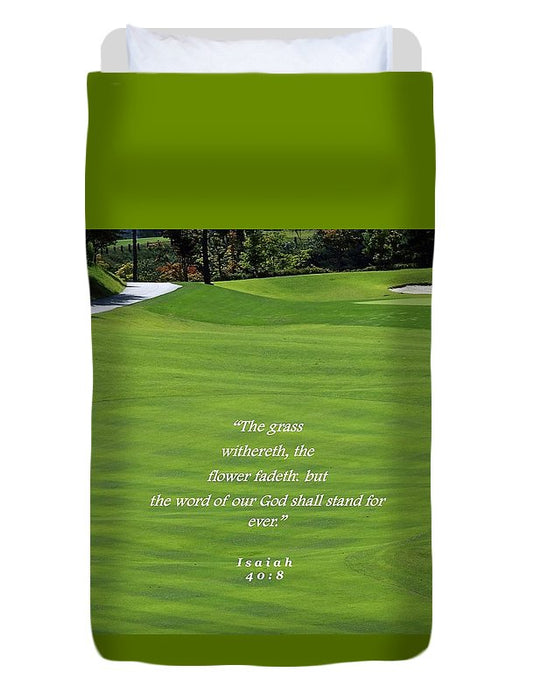 Grass Word Of God and Golf Course  - Duvet Cover - Love the Lord Inc