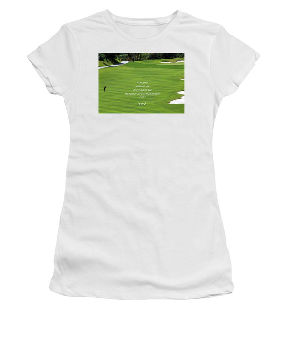 Grass Word Of God and Golf Course  - Women's T-Shirt - Love the Lord Inc
