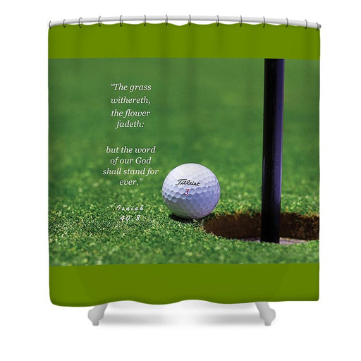 Grass Word Of God Golf Ball - Shower Curtain - Love the Lord Inc