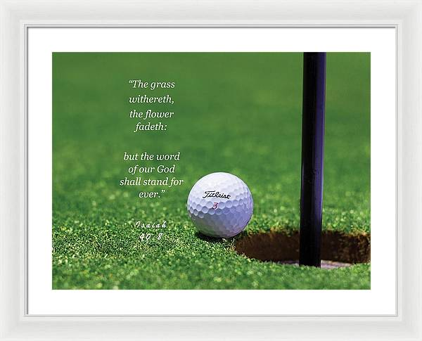 Grass Word Of God Golf Ball - Framed Print - Love the Lord Inc