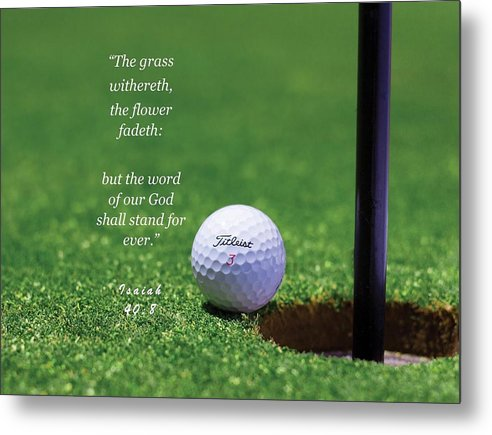 Grass Word Of God Golf Ball - Metal Print - Love the Lord Inc