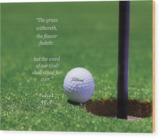 Grass Word Of God Golf Ball - Wood Print - Love the Lord Inc