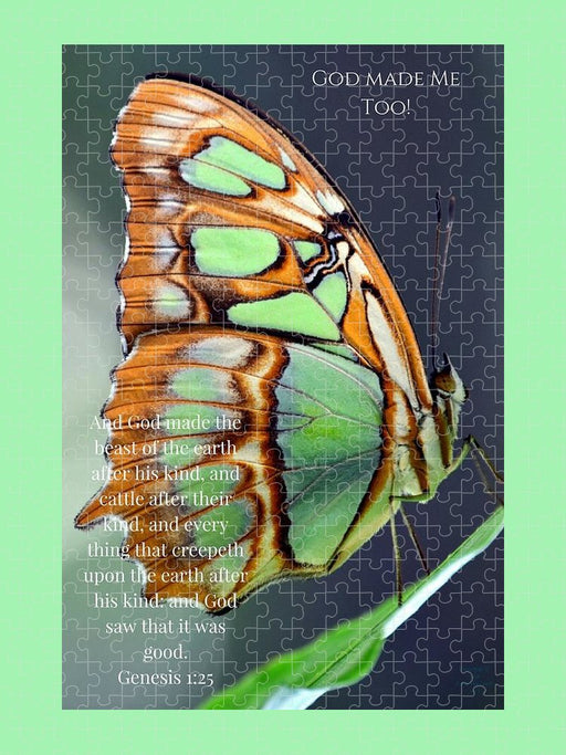 Green Butterfly - God Made Me Too - Puzzle - Love the Lord Inc