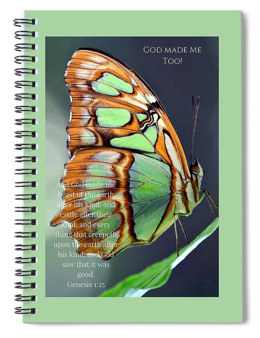 Green Butterfly - God Made Me Too - Spiral Notebook - Love the Lord Inc