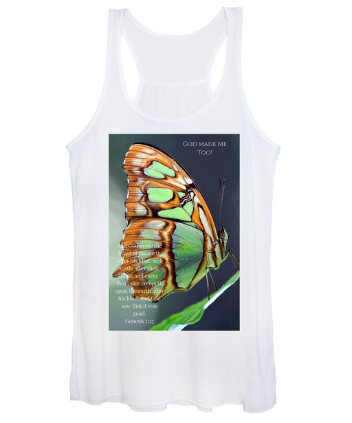 Green Butterfly - God Made Me Too - Women's Tank Top - Love the Lord Inc