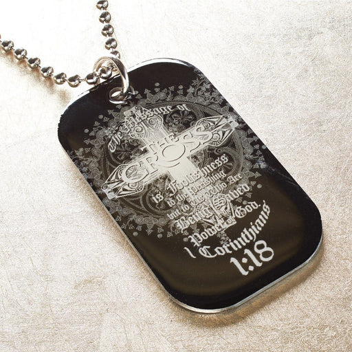 Christian Dog Tag - 1 Cor 1:18 - Love the Lord Inc