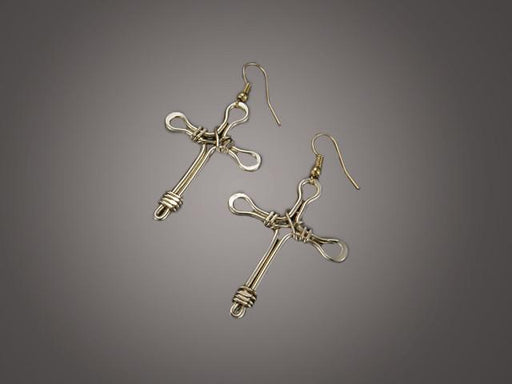 Christian Earrings - Gold Plated Cross - Love the Lord Inc