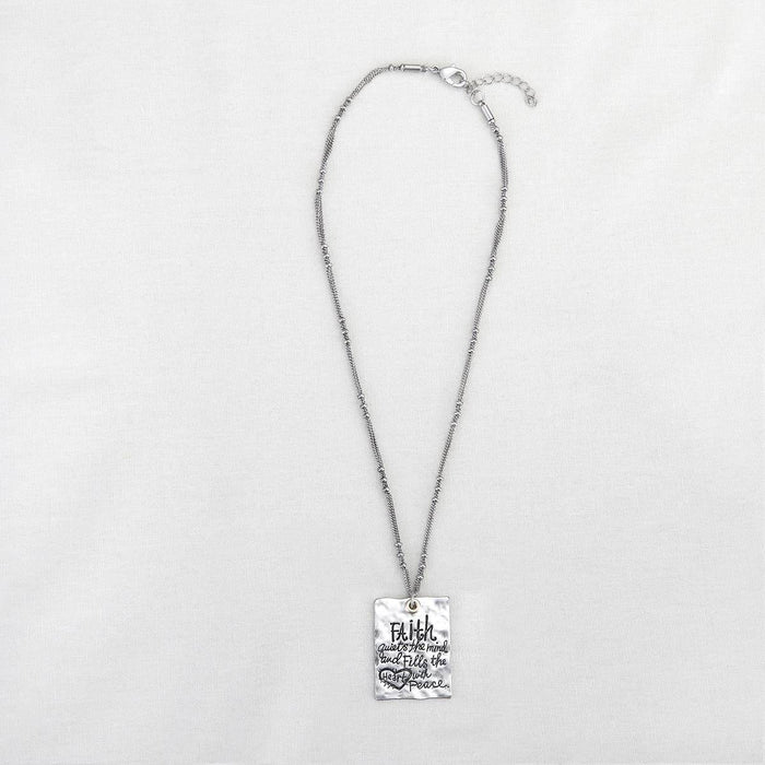 Christian Jewelry - Silver Message Necklace Faith - Love the Lord Inc