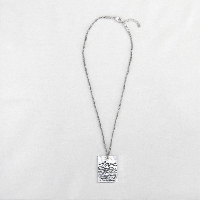 Christian Jewelry - Silver Message Necklace Love - Love the Lord Inc