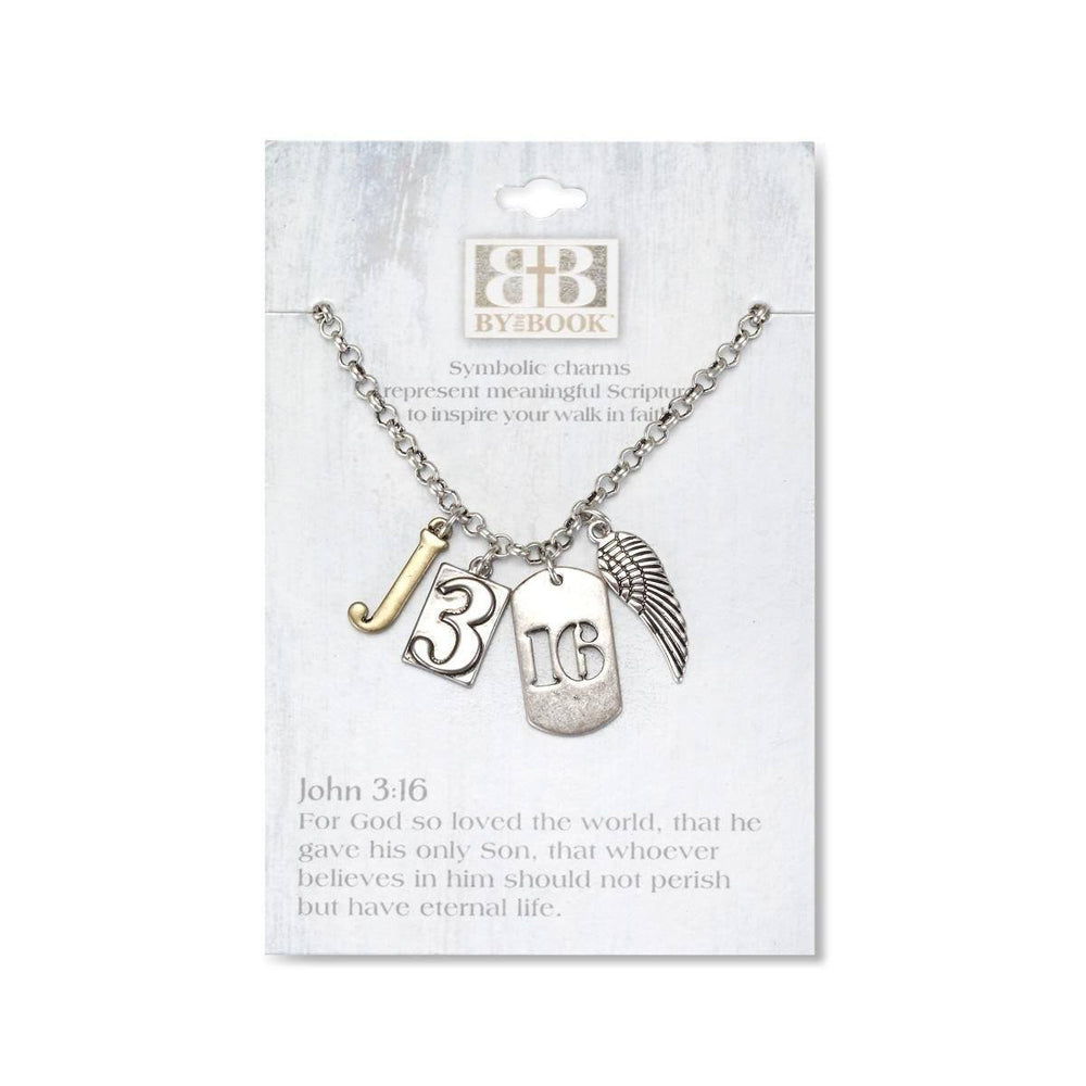 Christian Necklace - Charm Necklace John 3:16 - Love the Lord Inc
