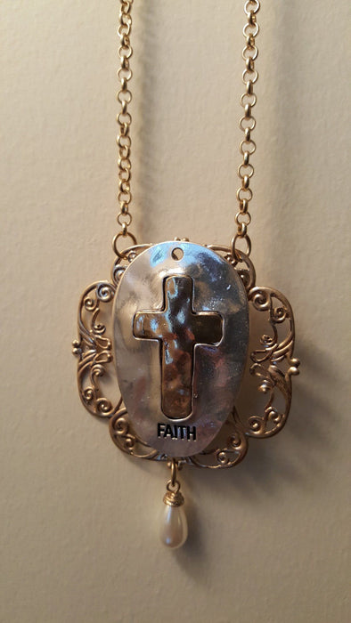 Christian Necklace - Cross Embellished Spoon Necklace - Love the Lord Inc