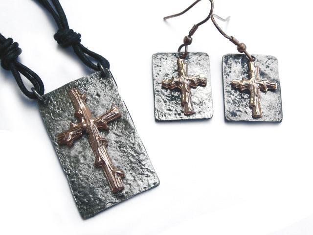 Christian Necklace/Earring Set - Bronze Cross - Love the Lord Inc