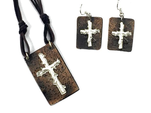 Christian Necklace/Earring Set - Cross - Love the Lord Inc