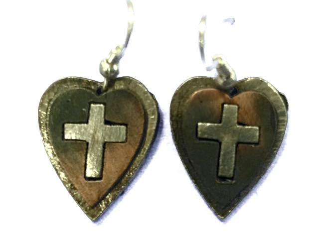 Christian Necklace/Earring Set - Cross & Heart - Love the Lord Inc