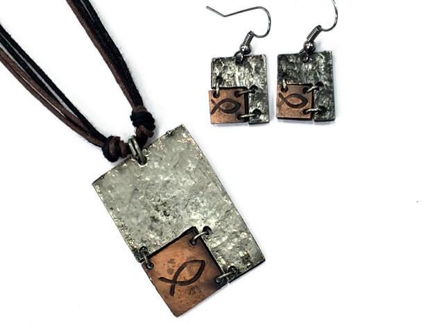 Christian Necklace/Earring Set - Fish Symbol - Love the Lord Inc