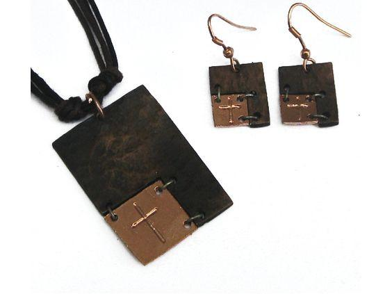Christian Necklace & Earring Set - Rustic Faith (Bronze) - Love the Lord Inc