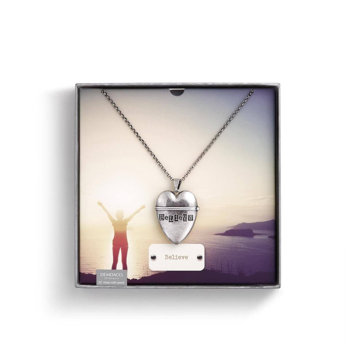 Christian Necklace - Heart Pendant (Believe) - Love the Lord Inc