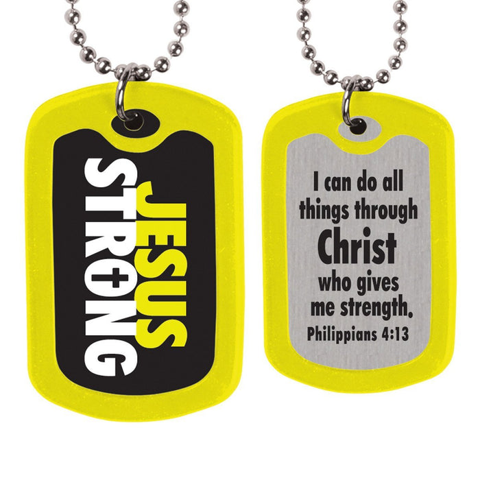Christian Necklace - Jesus Strong Dog Tag - Love the Lord Inc