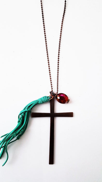 Copper Cross Necklace - Copper Cross, Beautiful Stone & Turquoise Tassel - Love the Lord Inc