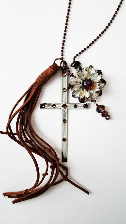 Ivory Cross Necklace - Copper Stone Cross, Flower & Tassel - Love the Lord Inc