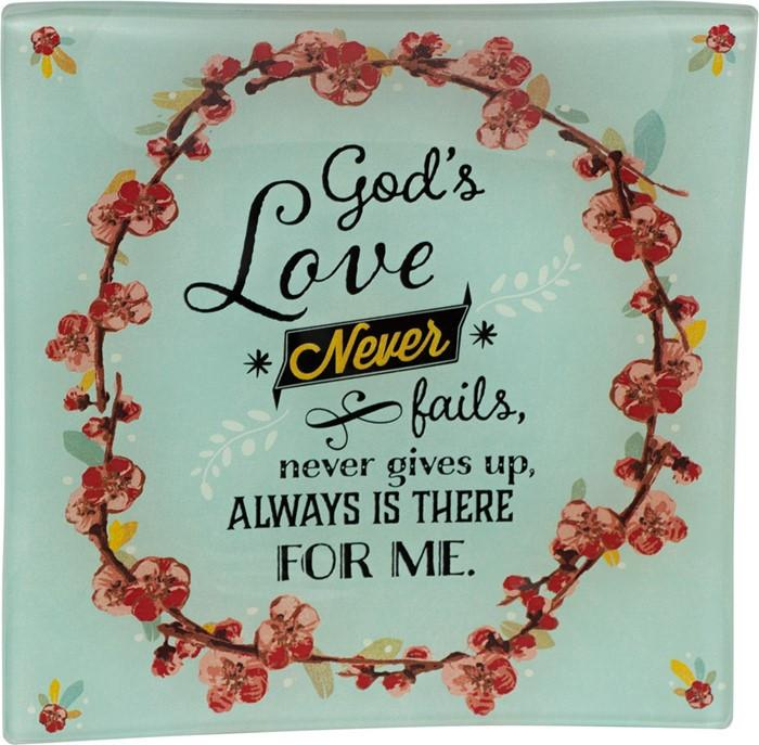 Trinket Tray - God's Love Glass Tray (Christian) - Love the Lord Inc