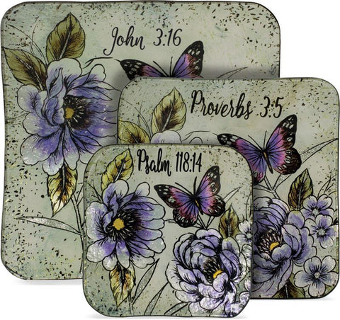 Kitchen - Christian Gift - Butterfly Scripture 3 Piece Plate Set