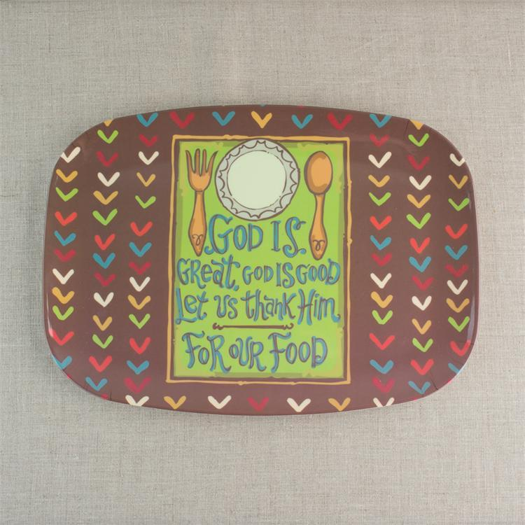 Serving Plate -God Is Great, God Is Good, Thank Him for our Food - Love the Lord Inc