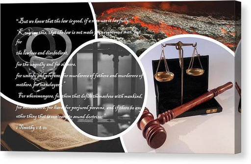 Law and Order  1 Timothy 1-8 - Canvas Print - Love the Lord Inc