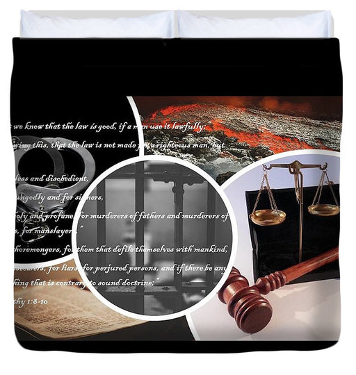Law and Order  1 Timothy 1-8 - Duvet Cover - Love the Lord Inc