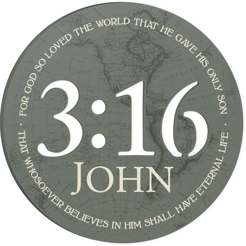 "Medium Size Wall Art - Christian Wall Art - ""For God So Loved The World"""