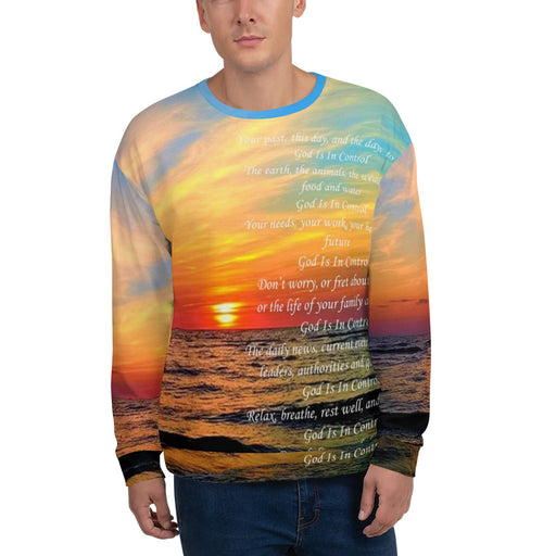 Men's Sweatshirt - God Is In Control (Ocean Sunrise) - Love the Lord Inc