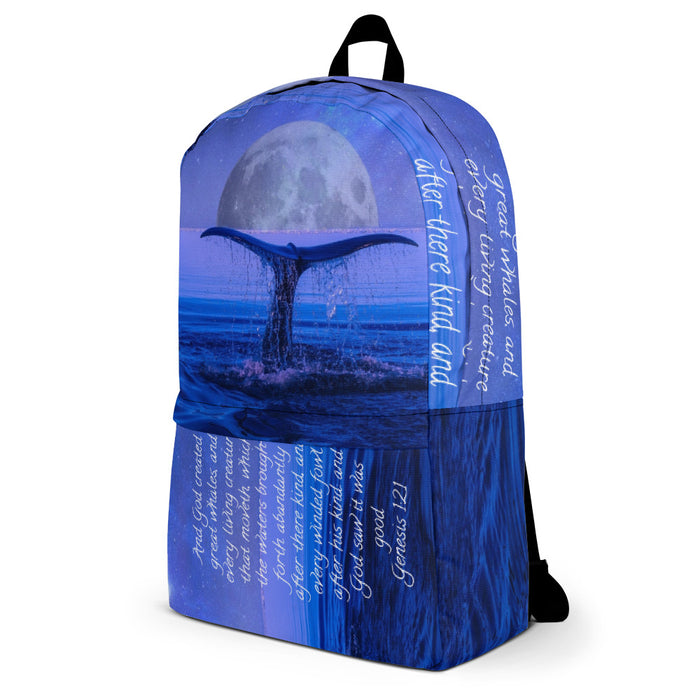 Backpack - God Created Great Whales - Love the Lord Inc