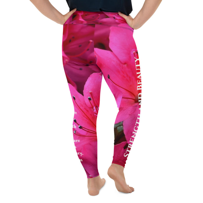 All-Over Print Plus Size Scripture Leggings - Strength and Beauty - Love the Lord Inc