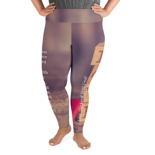 All-Over Print Plus Size Scripture Leggings - Love The Lord Your God (Deut 6:5) - Love the Lord Inc