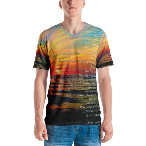 e5cec0ce2 Men's V-Neck T-shirt - God Is In Control (Ocean Sunrise)