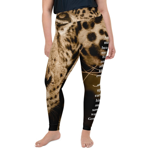 All-Over Print Plus Size Scripture Leggings - God Created Jaguar (Genesis 1:25) - Love the Lord Inc