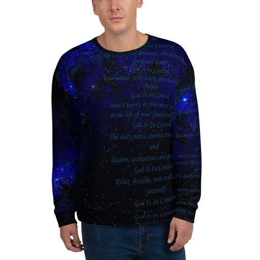 Men's Sweatshirt - God Is In Control (Stars In the Sky) - Love the Lord Inc