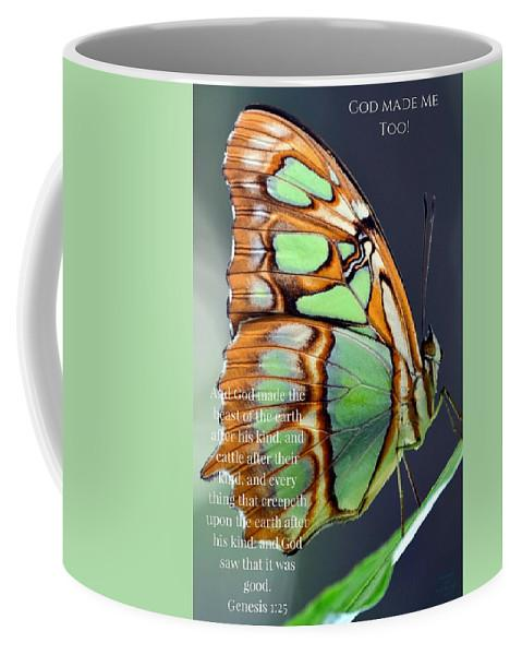 Green Butterfly - God Made Me Too - Mug - Love the Lord Inc