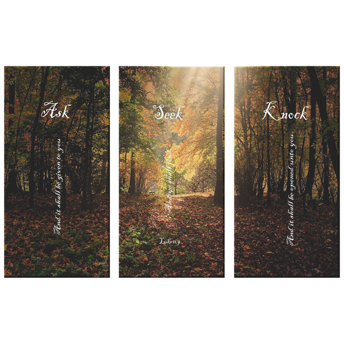 Three Piece Canvas Print - Ask, Seek, Knock (Deep Forest) - Love the Lord Inc